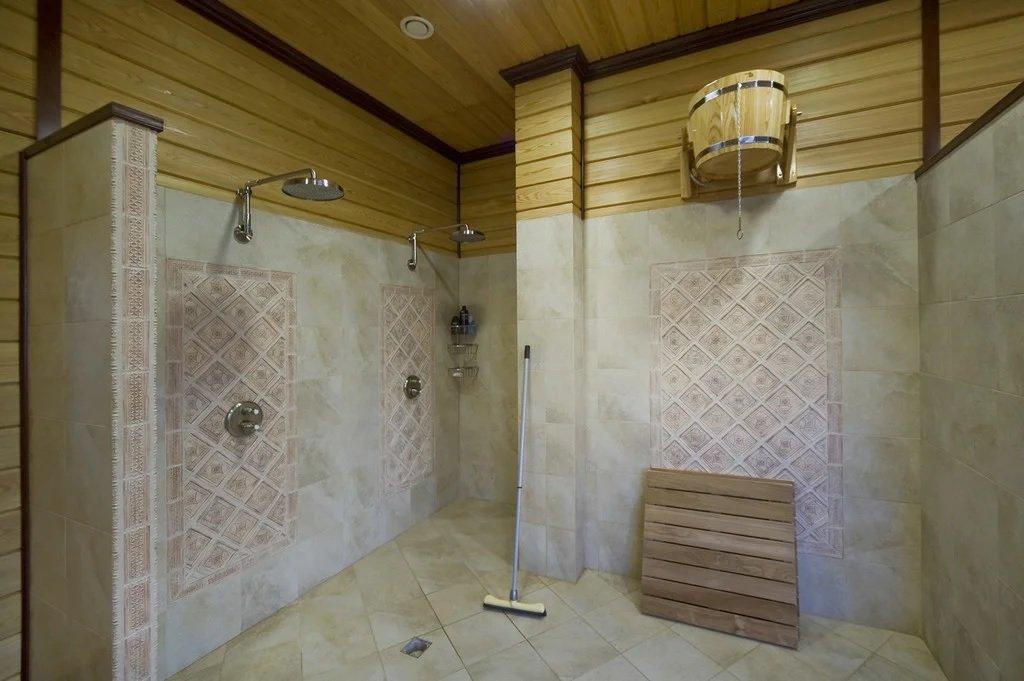Оформление душевой в бане