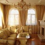Золотая тюль и шторы