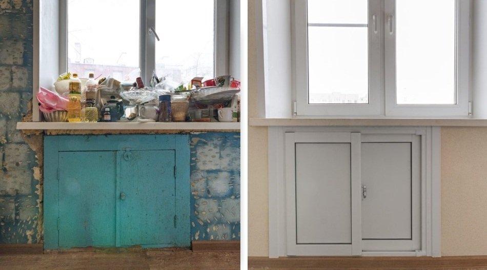 Реставрация старых дверей холодильника под окном