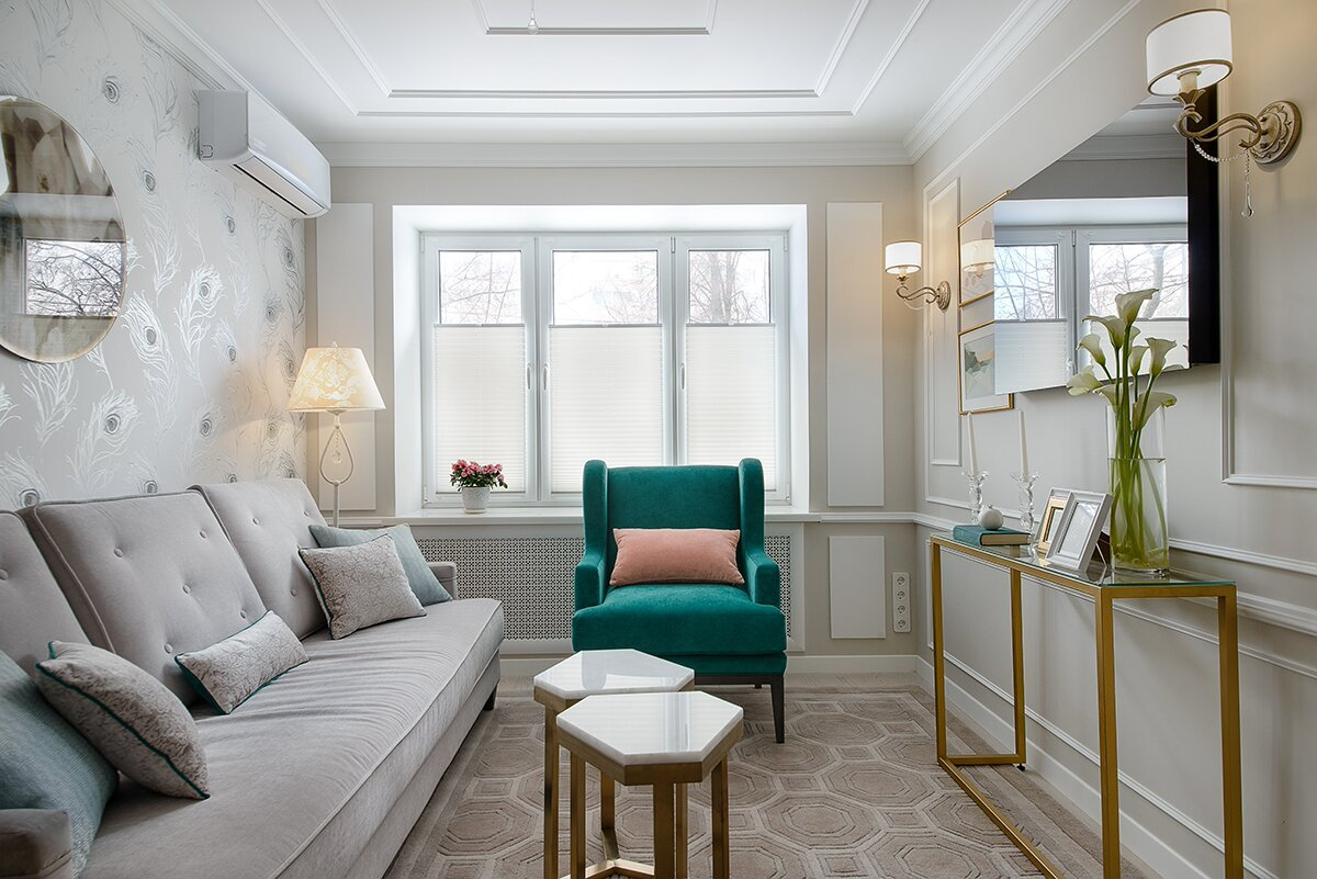 Расстановка мебели узкой комнате