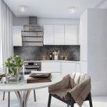 Сочетание белой мебели и серого фартука