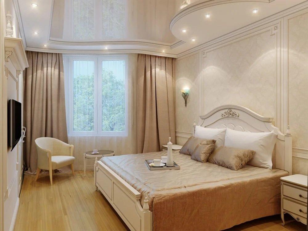 смотреть натяжные потолки фото в спальне считают ближайшим