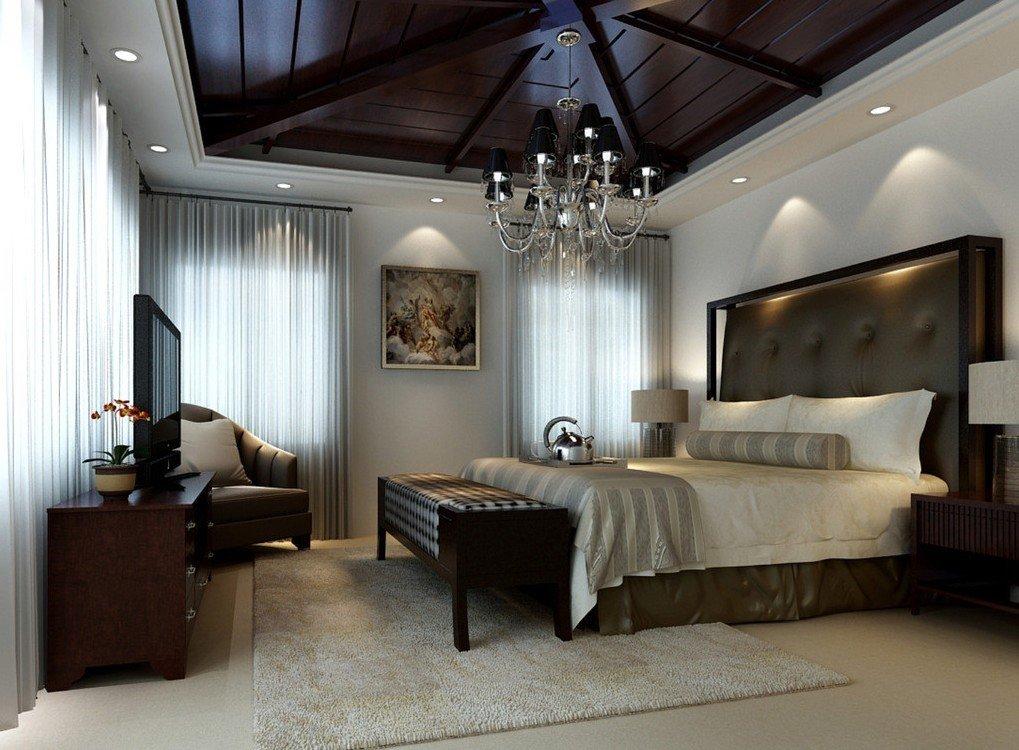 Натяжной потолок в спальне в стиле фьюжн