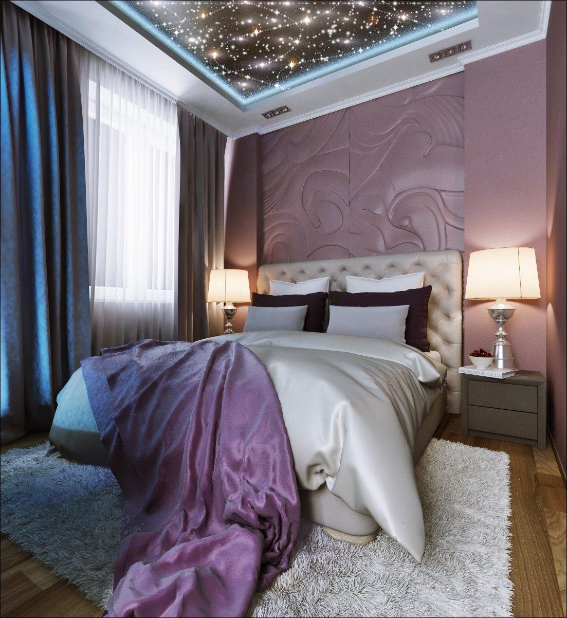 смотреть натяжные потолки фото в спальне лишних декоративных элементов
