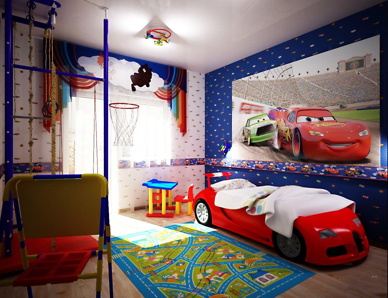 Обои в мелкий рисунок в комнате для мальчика