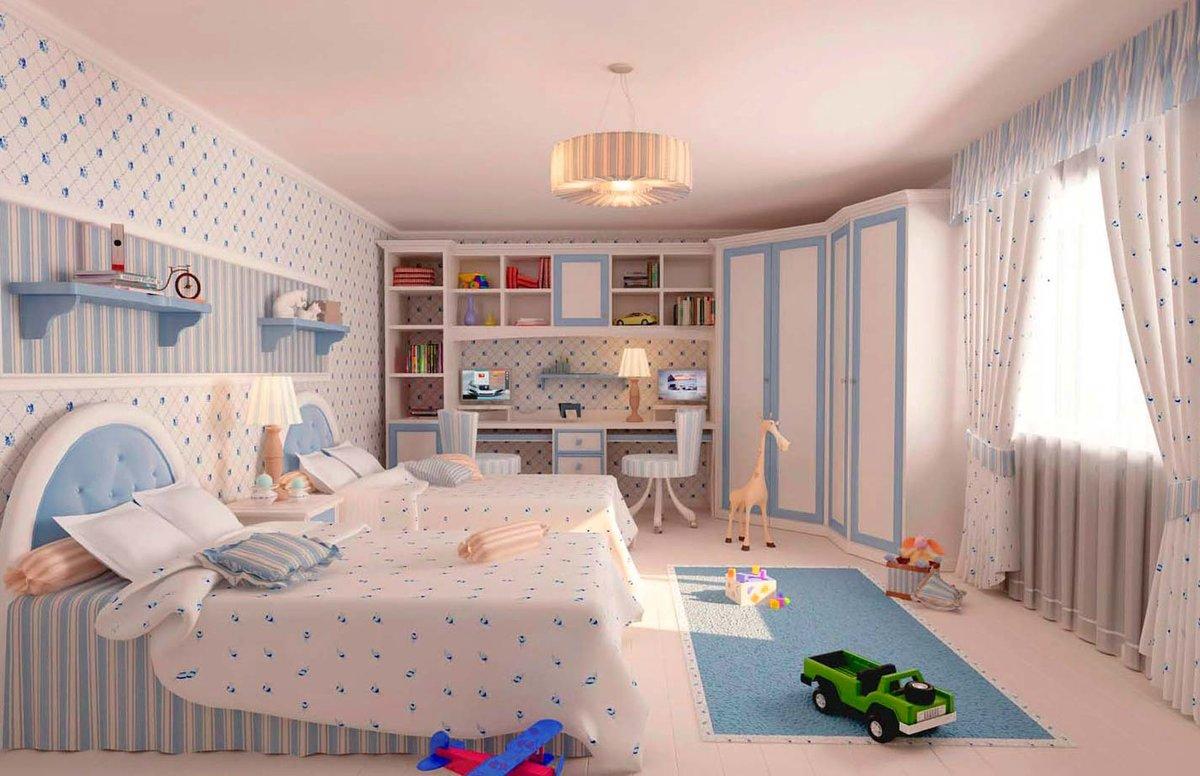 Интерьер детской для мальчика со светлыми обоями