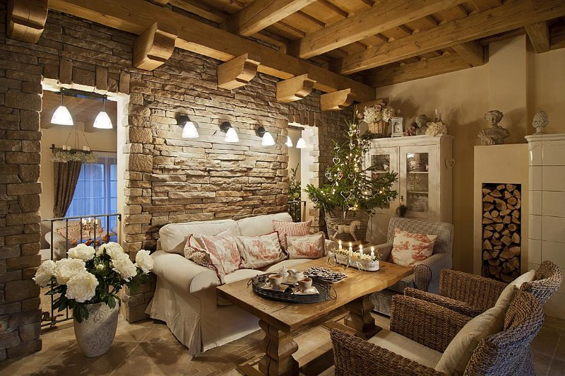Стены из камня в интерьере в стиле прованс