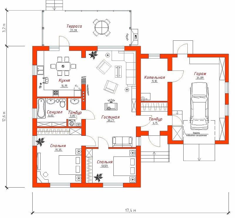 Размеры дома с гаражом