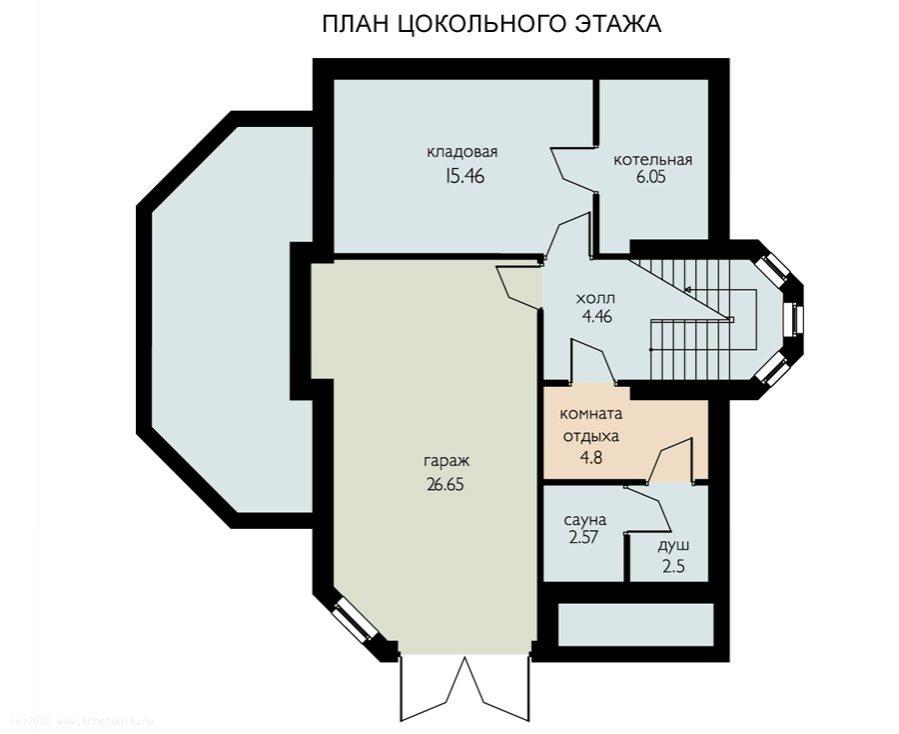 Проект дома с гаражом в цоколе