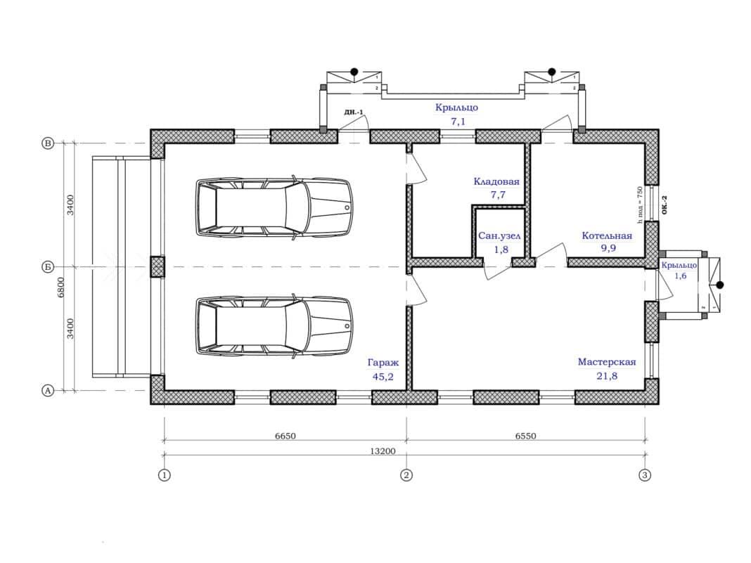 Проект дома с гаражом в нижней части