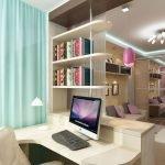 Интерьер комнаты с кабинетом