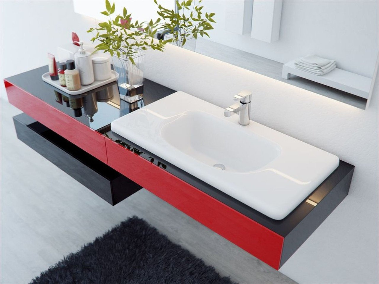 Раковина подвесного типа в ванной