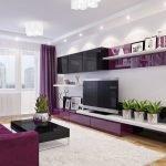 Фиолетовые шторы в гостиной