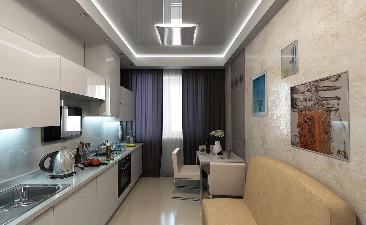 Кухня 12 кв м с прямой планировкой