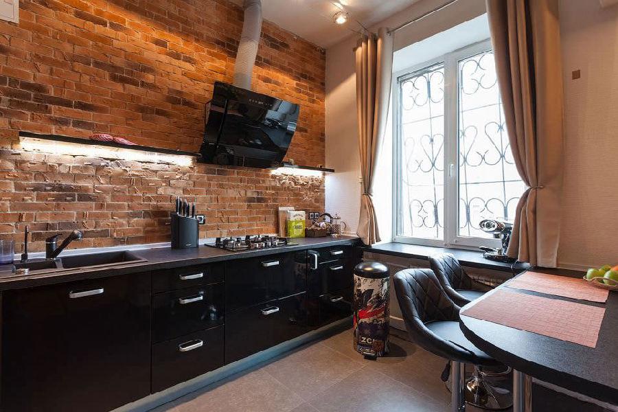 Кухня 12 кв м в стиле лофт