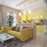Желтая мебель на кухне
