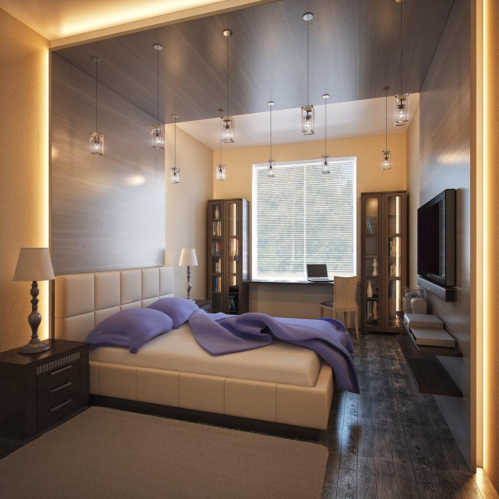 Спальня в прямоугольной комнате дизайн фото