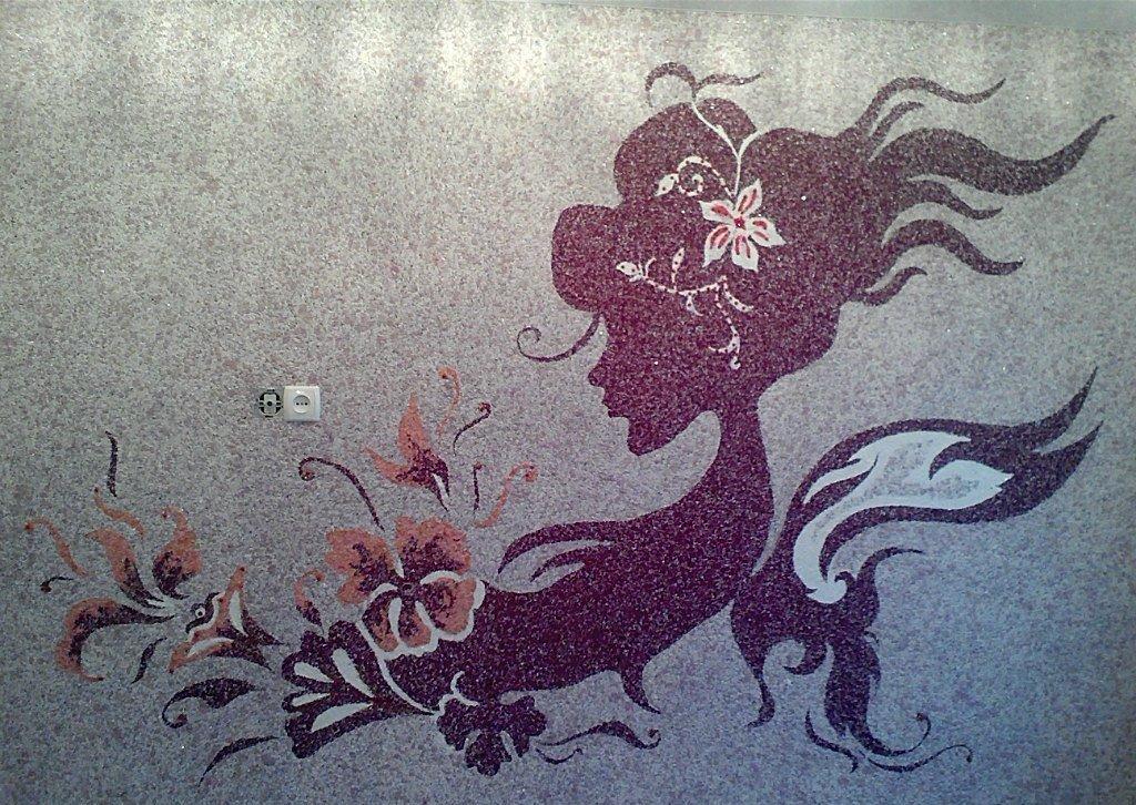 горшочек рисунок цветы из жидких обоев серебристая куртка белыми