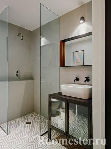 Стильный дизайн в маленькой ванной комнате