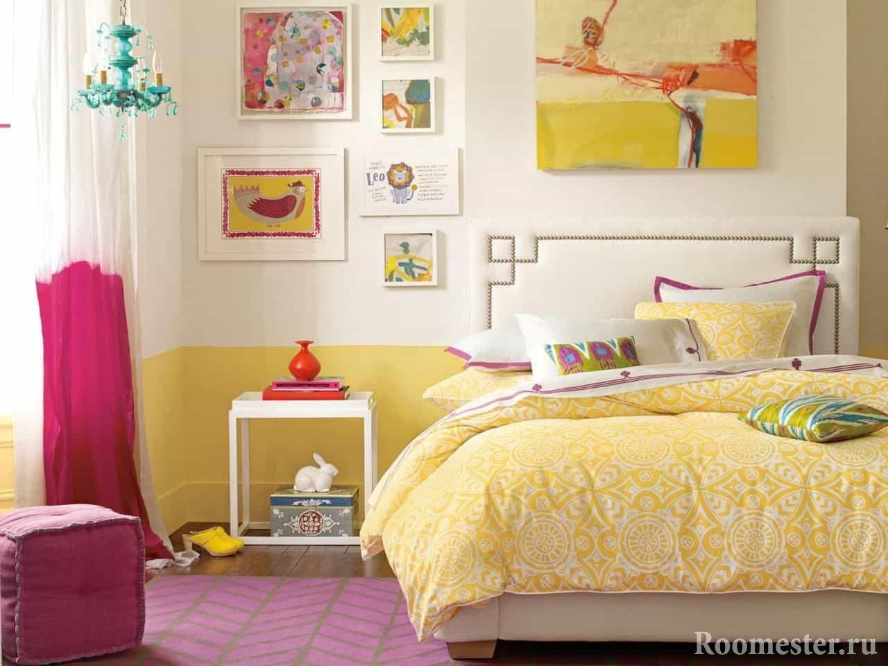 Дизайн светлой спальни с лимонными цветами
