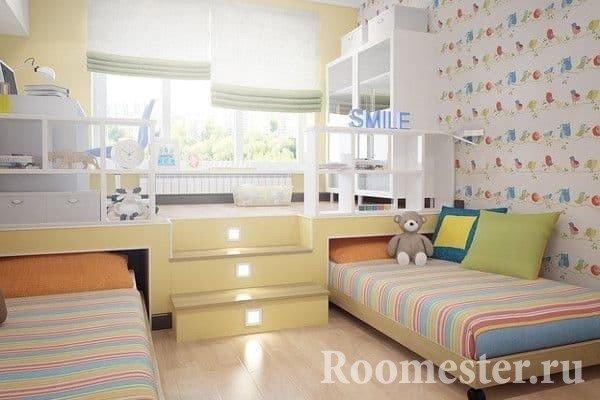 Детская комната для разнополых детей с подиумом