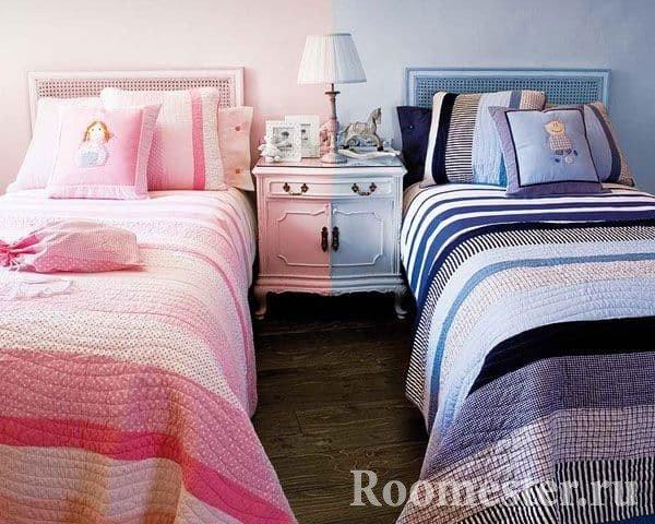 Разделение зон детской комнаты цветом по стене
