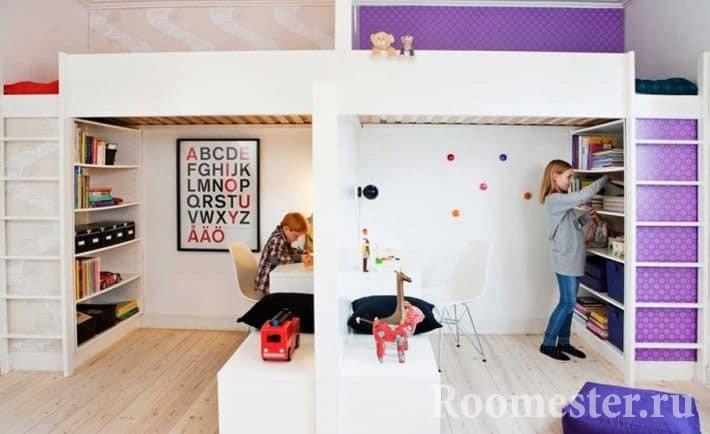 Детская комната для разнополых детей поделенная на два пространства