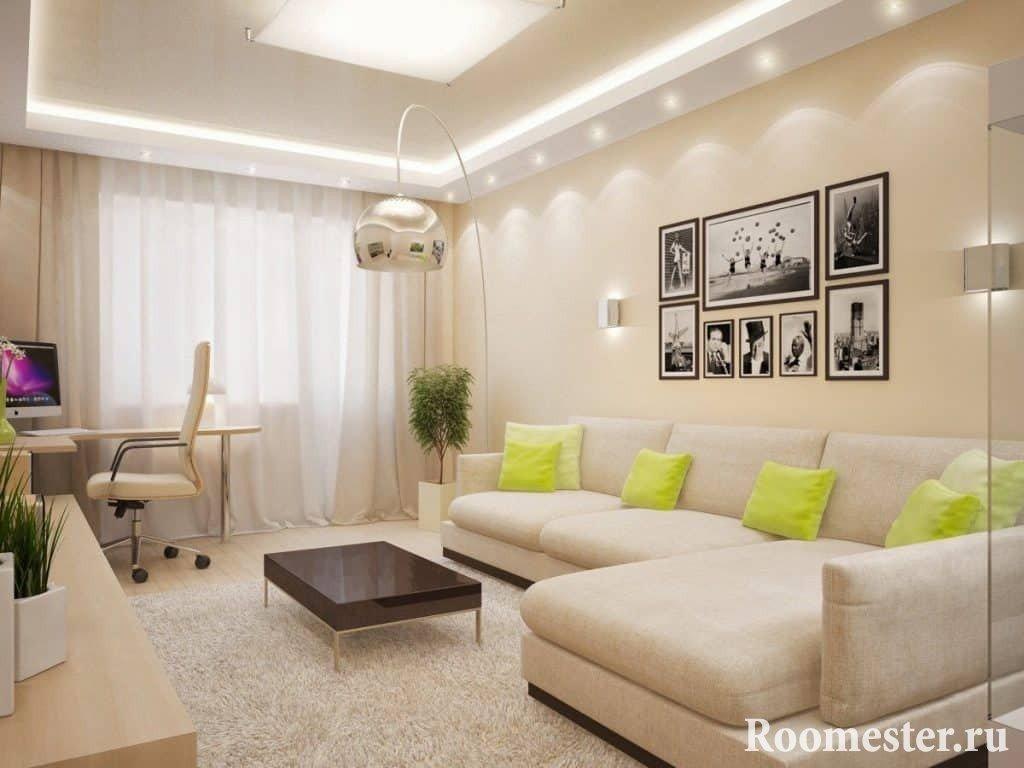 Самый простой интерьер гостиной 18 кв.м фото