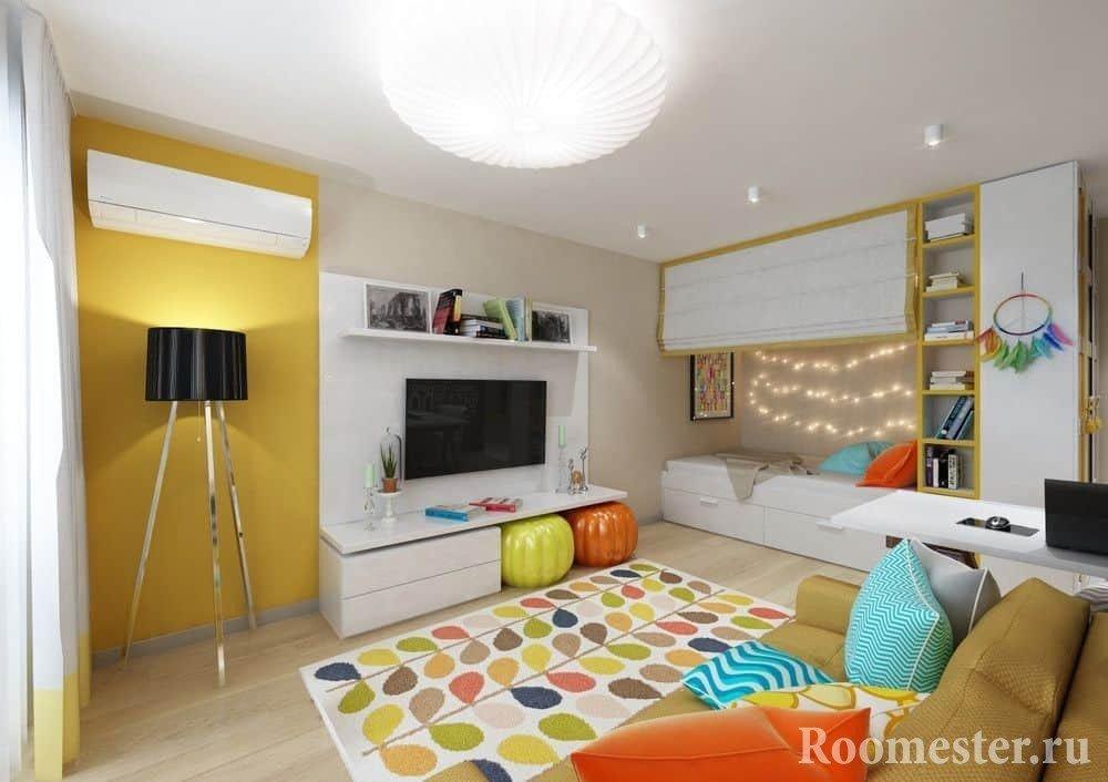 Яркий дизайн интерьера маленькой квартиры