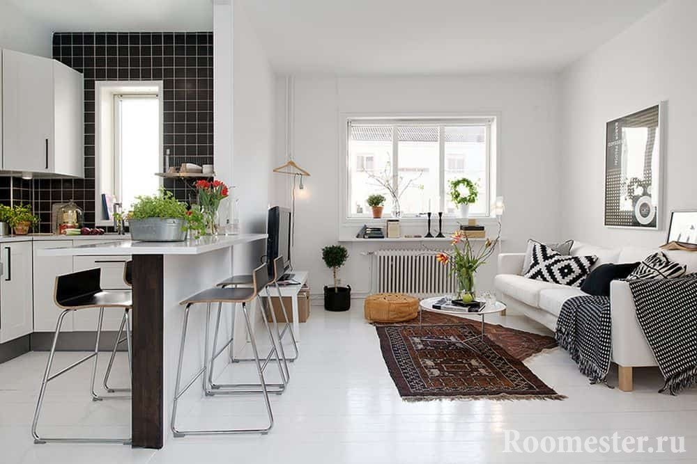 Перегородка между кухней и гостиной в маленькой квартире