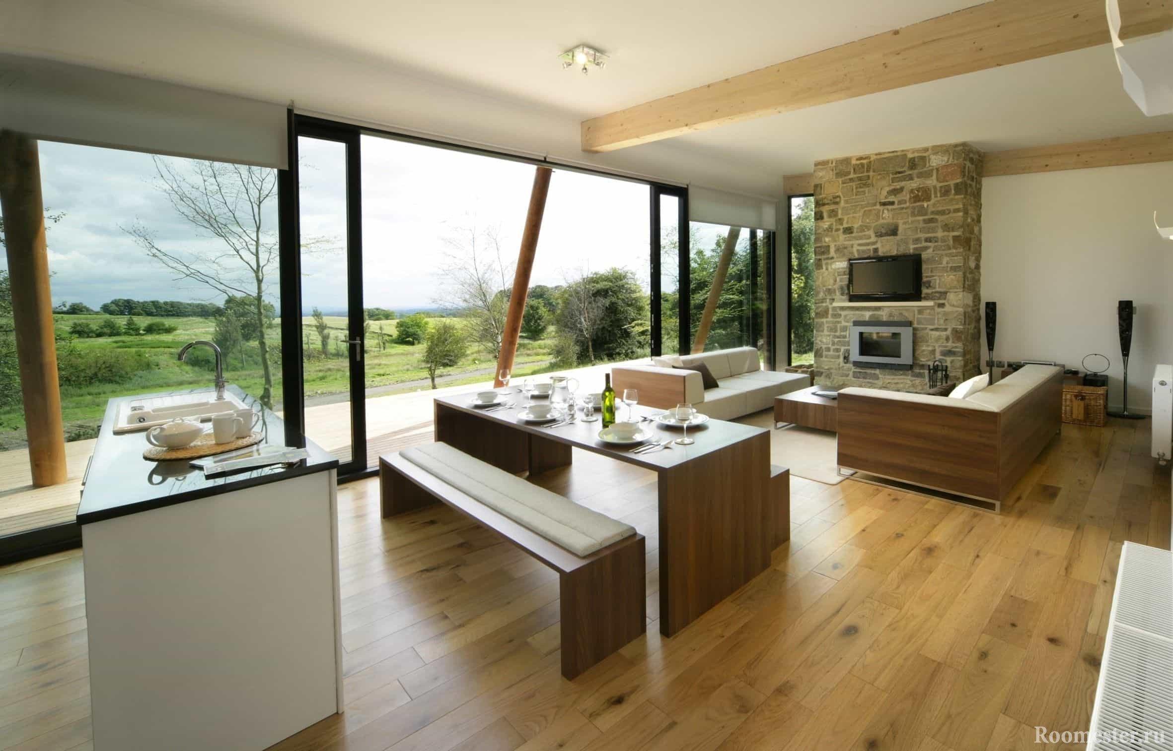 Дизайн объединенной кухни-столовой-гостиной