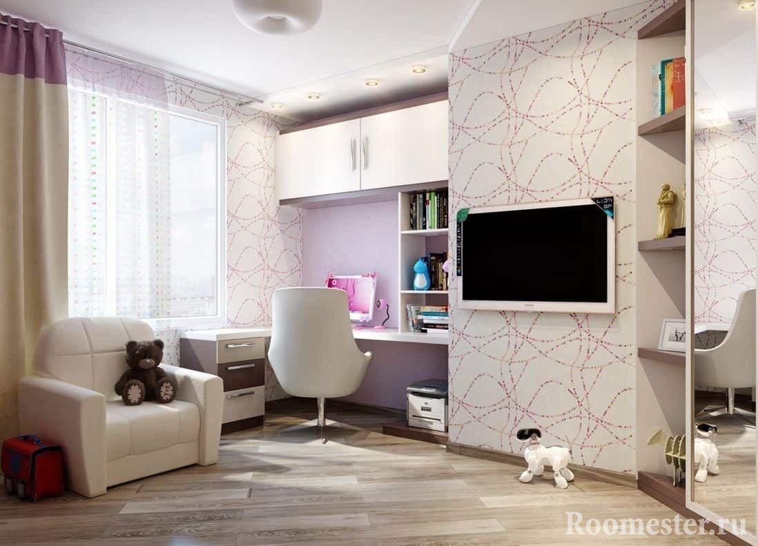 Рабочее место в комнате для девочки-подростка