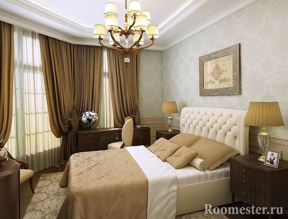 Дизайн в спальне в классическом стиле