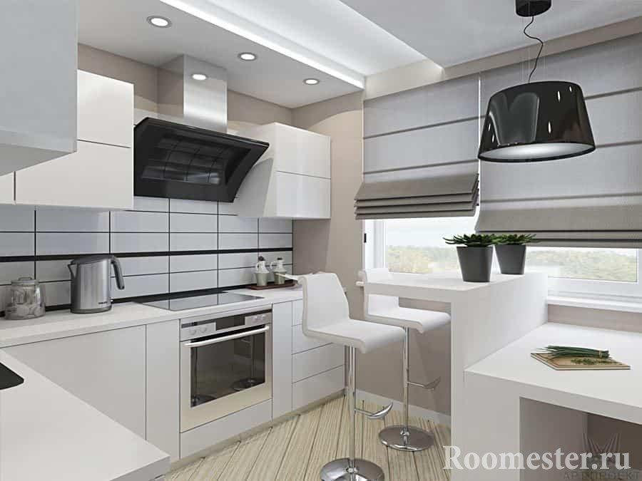 Проект кухни в трехкомнатной квартире