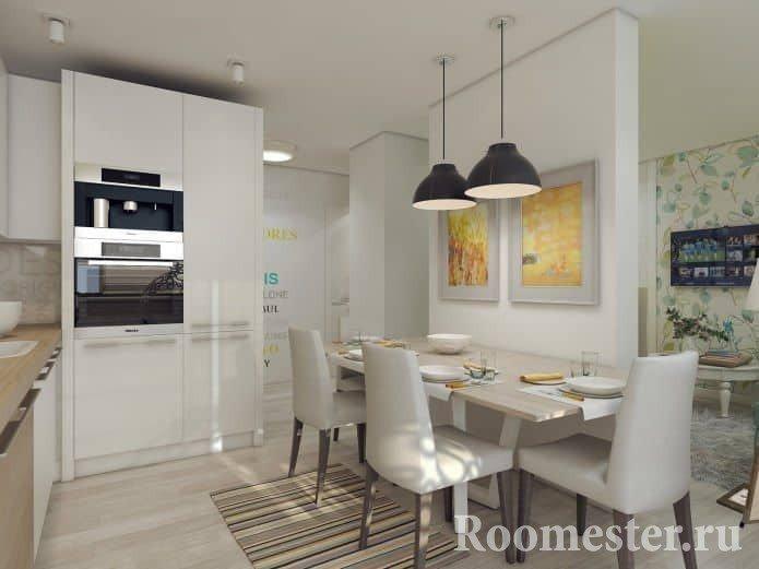 Дизайн-проект кухни в трехкомнатной квартире