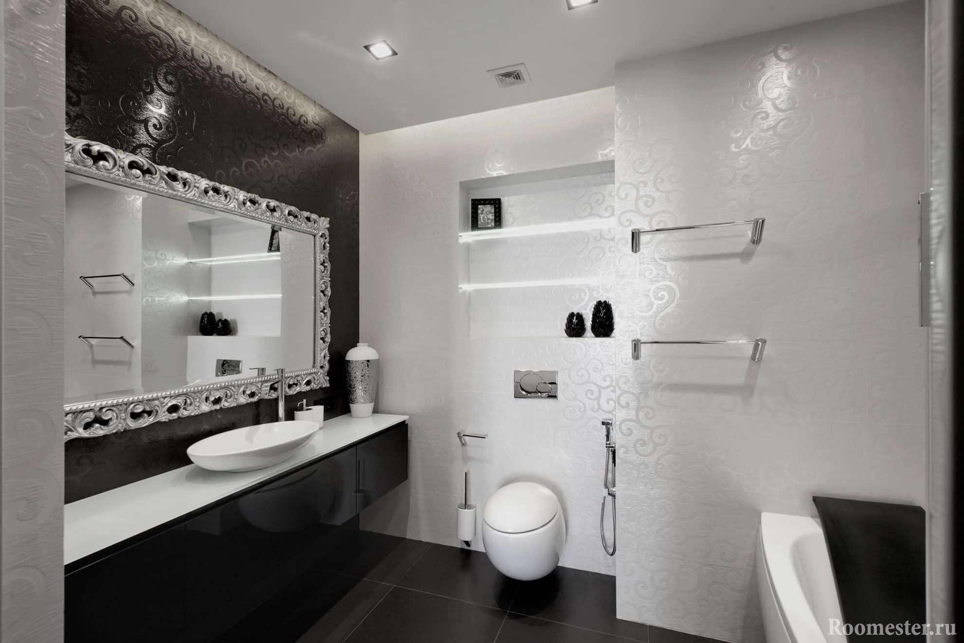 Черно-белая ванная с санузлом