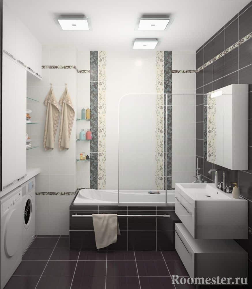 Сушилка и стиральная машина в ванной