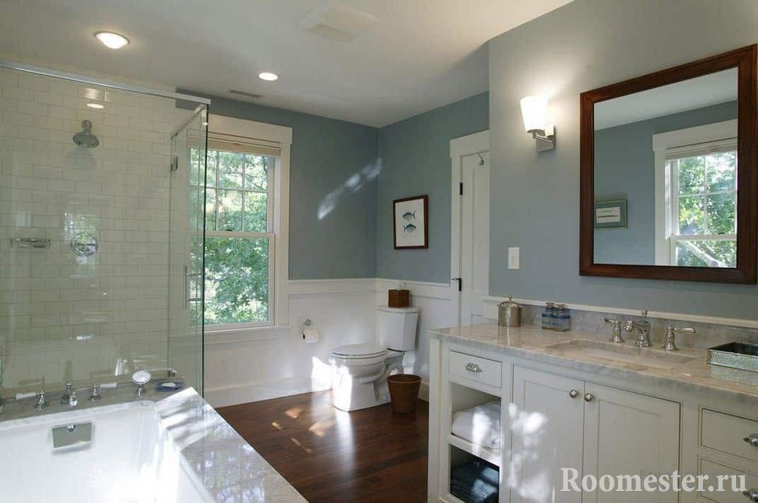 Просторная ванная комната совмещенная с туалетом