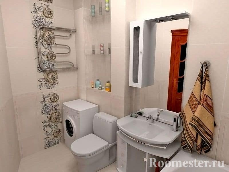 Ванная с туалетом, размещение стиральной машины