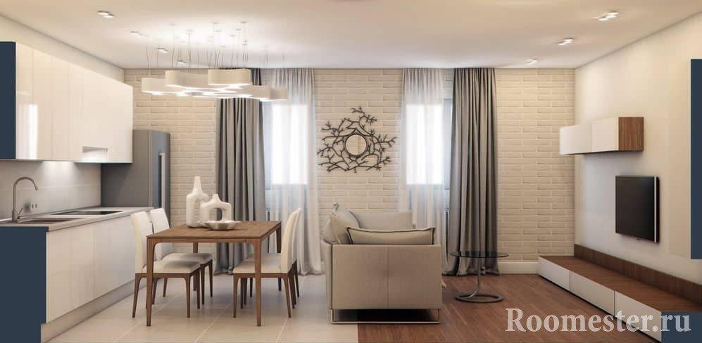 Кухня с гостиной в стиле минимализм