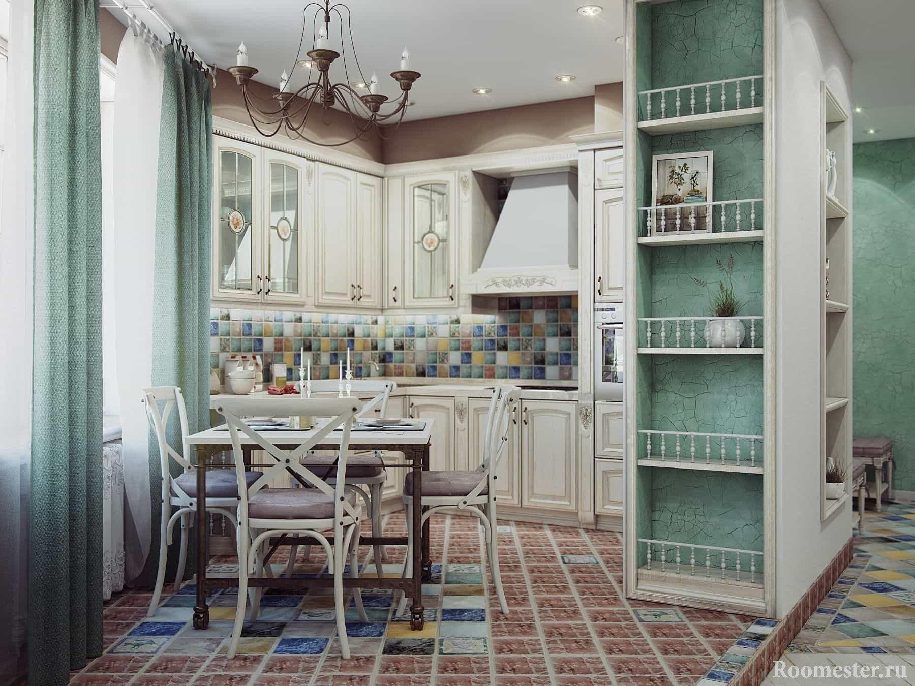 Бирюзовая кухня прованс