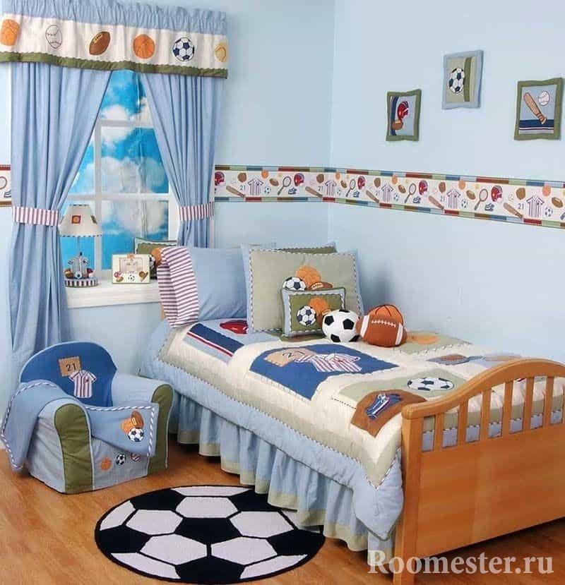 Детская комната в хрущевке для будущего футболиста