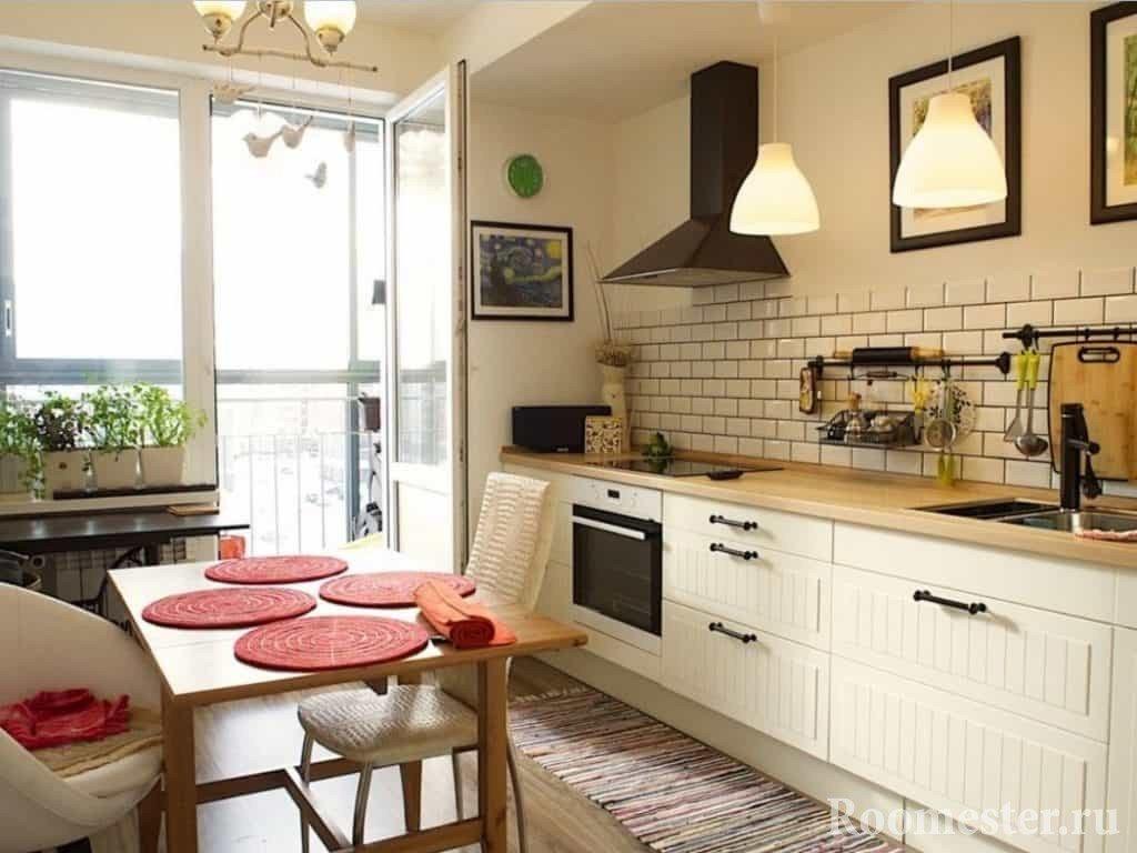 Интерьер дизайн кухни без навесных шкафов