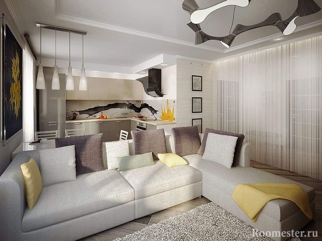 Цветовые решения в дизайне кухни совмещенной с залом