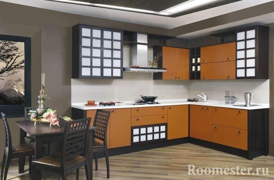 Кухня венге в сочетании с оранжевым