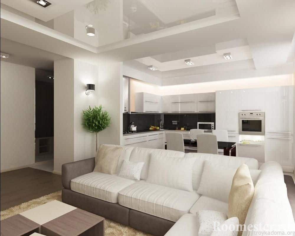 Гостиная квадратной формы совмещенная с кухней