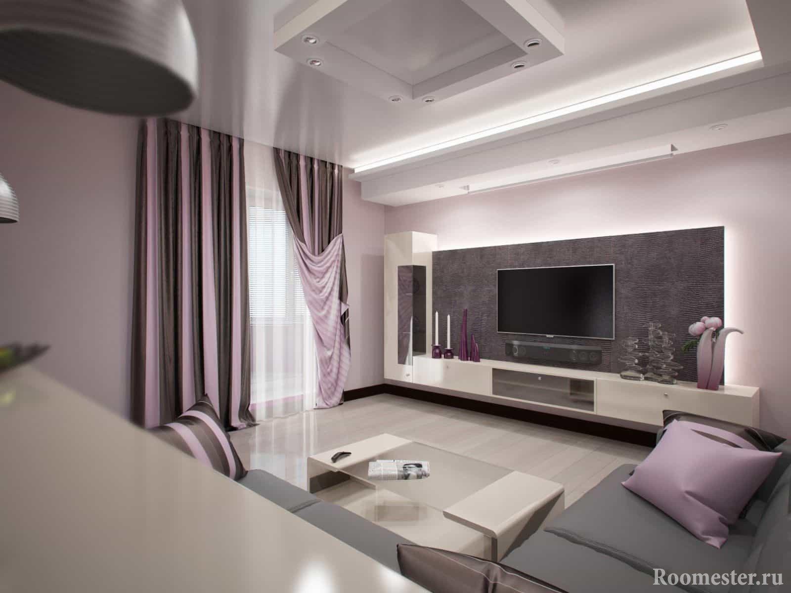 Гостиная квадратной формы с угловым диваном