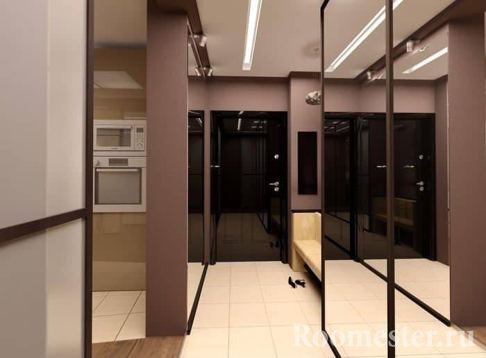 Зеркальный шкаф-купе увеличит маленький коридор