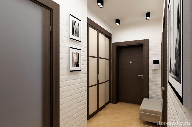 Дизайн интерьера маленького коридора с шкафом и пуфиком