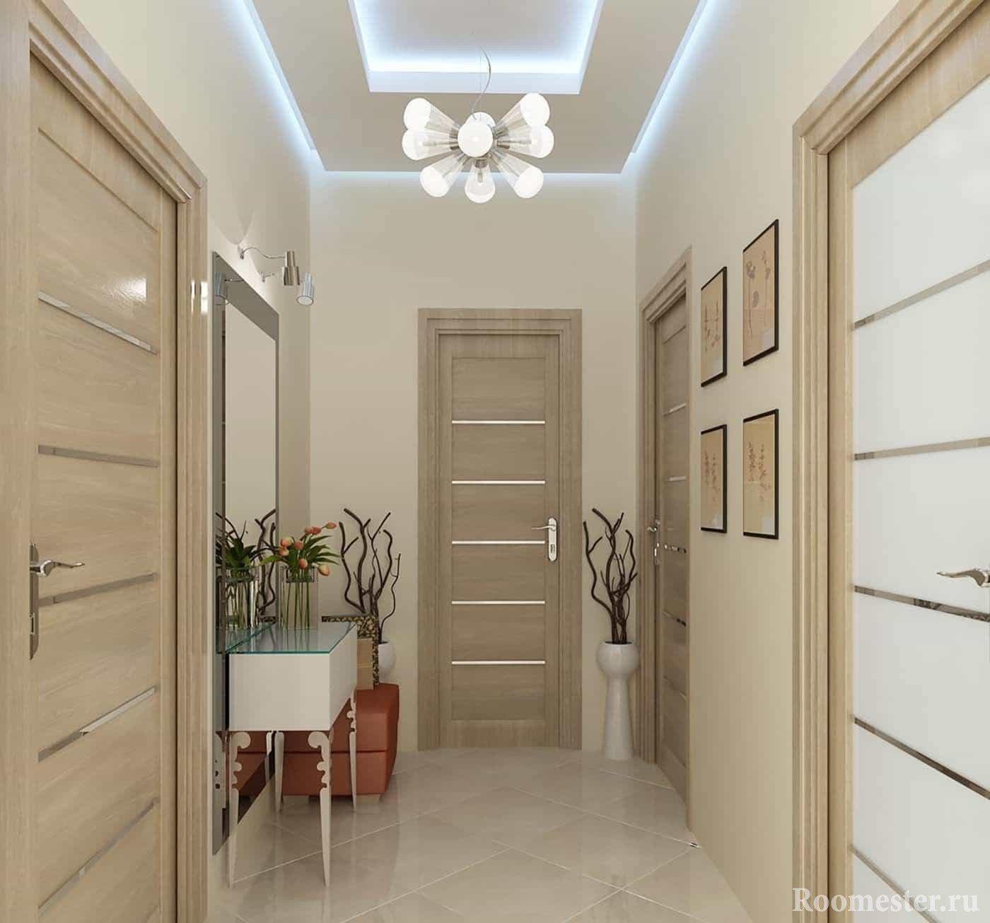 Дизайн коридора в светлых тонах в квартире